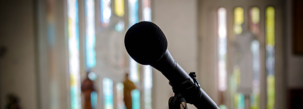 rubber box mic in church